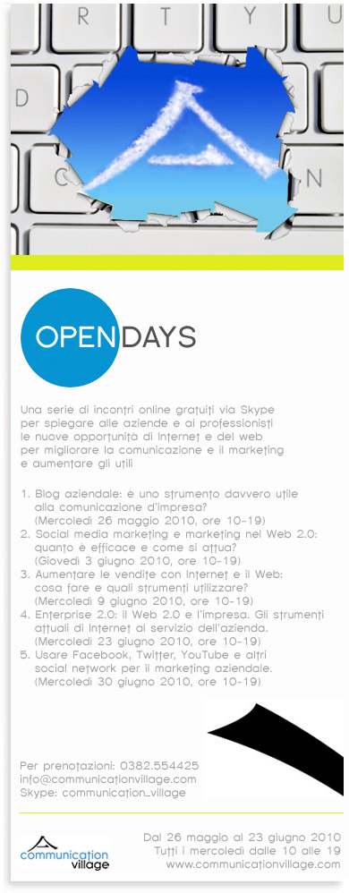 Open Days di Communication Village, incontri online gratuiti per migliorare comunicazione, marketing e vendite