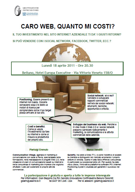 """Seminario """"Caro Web, quanto mi costi?""""- Belluno, lunedì 18 aprile 2011"""